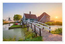 Poster Sonnenaufgang in Zaanse Schans in Holland