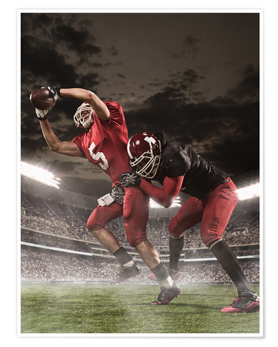 Poster American Football-Spieler in Aktion