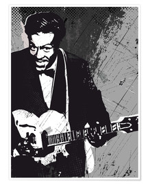 Premium-Poster Chuck Berry black and white art