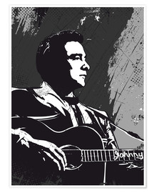 Premium-Poster  Johnny Cash black and white art - 2ToastDesign