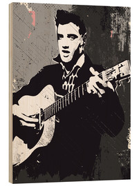 Holzbild  Elvis Presley black and white art - 2ToastDesign