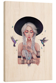 Holzbild  Boho girl with hummingbirds - Valeriya Korenkova