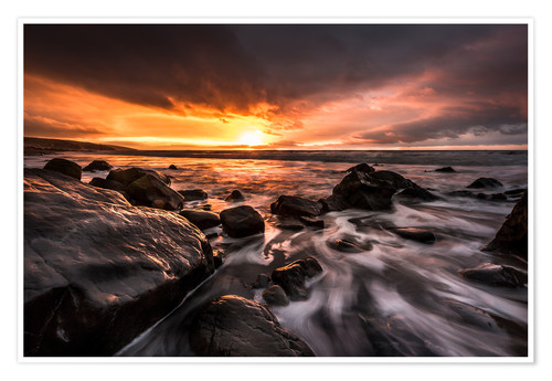 Premium-Poster Amroth Beach Winter Sunrise