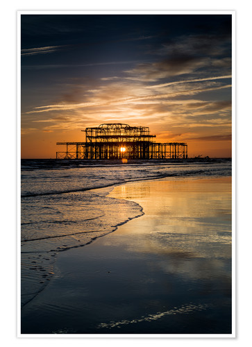 Premium-Poster Brighton West Pier Sunset