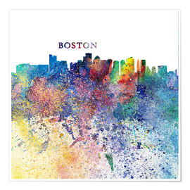 Premium-Poster Boston Massachusetts Skyline Silhouette Impressionistic Splash