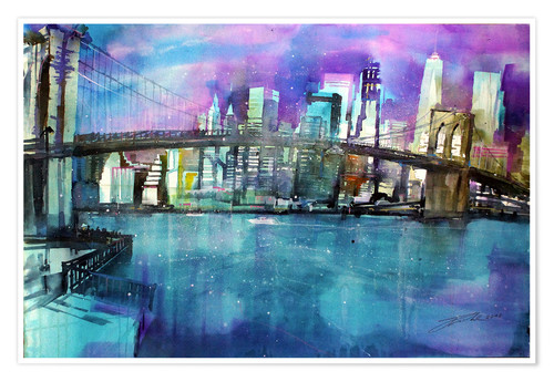 Premium-Poster New York Brooklyn Bridge