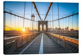 Leinwandbild  Brooklyn Bridge bei Sonnenaufgang vor der Skyline von Brooklyn - Jan Christopher Becke