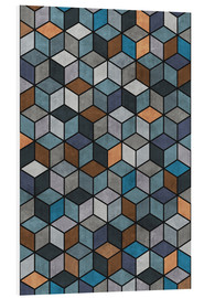 Hartschaumbild  Colorful Concrete Cubes Blue Grey Brown - Zoltan Ratko