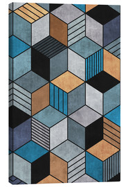 Leinwandbild  Colorful Concrete Cubes 2 Blue Grey Brown - Zoltan Ratko