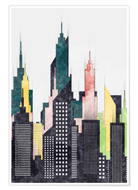 Premium-Poster Bunte Stadt von New York City Sketch