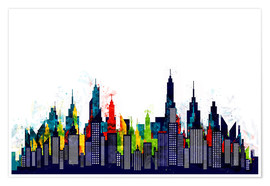 Premium-Poster  New York City, bunte Skyline - Radu Bercan