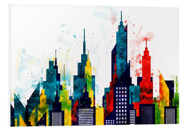 Hartschaumbild  New York City Wolkenkratzer Aquarell - Radu Bercan