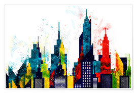 Premium-Poster New York City Wolkenkratzer Aquarell