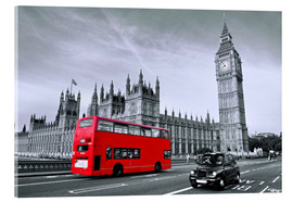 Acrylglasbild  Red Bus auf Westminster Bridge - Art Couture