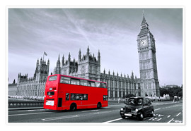 Premium-Poster Red Bus auf Westminster Bridge
