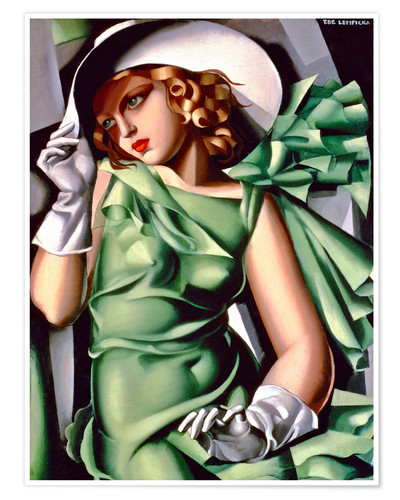 Poster Young lady with gloves